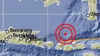 Lokasi Gempa di Barat Laut Pulau Saringi NTB. wacananews.co.id (berkas bmkg)